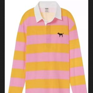 Victoria's Secret Pink Striped Polo Rugby Size S/M